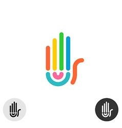 Hand colorful rainbow geometric linear style logo vector image