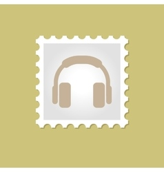 Headphone stamp vector image
