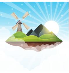mill island mountain sun hill - vector image