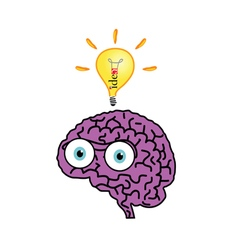 brain with idea bulb color vector image vector image
