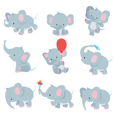 cute cartoon baby elephants animals african vector image vector image