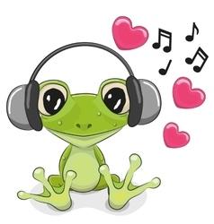 Frog with headphones vector image vector image