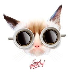 Good morning Funny cat with cups of coffee vector image vector image