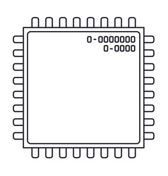 microchip closeup icon in monochrome silhouette vector image vector image