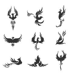 phoenix bird stylized icons on white background vector image vector image