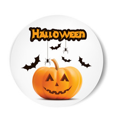pumpkin smiling halloween white sticker vector image