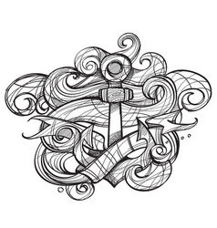 the ships anchor and crab tattoo monochrome for vector image vector image