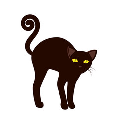 black cat with long tail symbol halloween vector image vector image