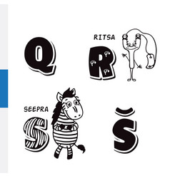 finnish alphabet slingshot zebra letters vector image vector image