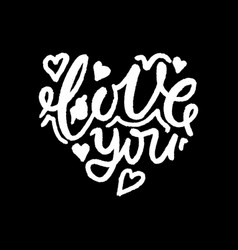 lettering love you in the shape of the heart vector image vector image