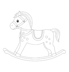 Rocking horse for coloring book vector