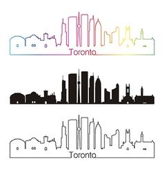 Toronto V2 skyline linear style with rainbow vector image vector image