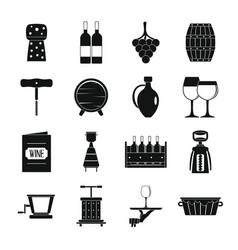 wine icons set simple style vector image