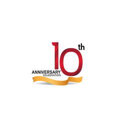 10 anniversary design logotype red color vector