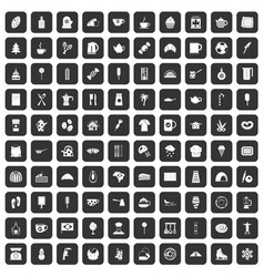100 coffee icons set black vector