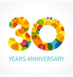 30 years anniversary circle colored logo vector
