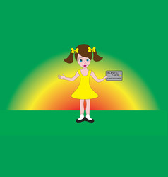 A cute little pretty girl holding a money card in vector