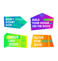 a set of bright colored christian banners vector image