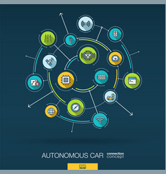 Abstract autonomous electric car self-driving vector