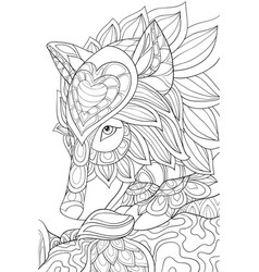 adult coloring bookpage a cute head wolf image vector image
