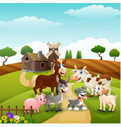Animals happy in farm background vector
