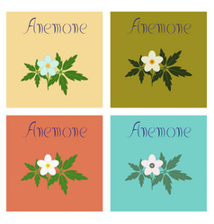 Assembly flat flower anemone vector