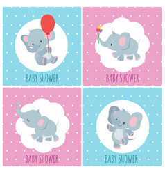 baby shower invitation cards with cute cartoon vector image