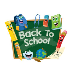 Back to school design with chalkboard cartoon vector