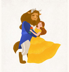 Beauty and beast dancing waltz young woman and vector