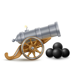 Big cannon and cannon balls vector