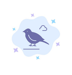 Bird british small sparrow blue icon on abstract vector