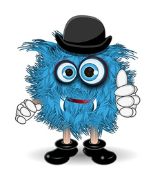 Blue monster in the hat vector