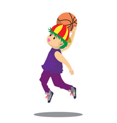 Boy air slam basketball character design cartoon vector
