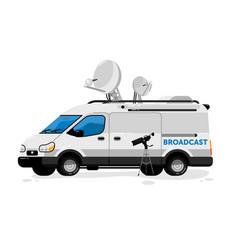 Broadcasting van isolated media vector