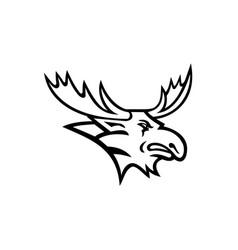 Bull moose or elk head mascot black and white vector
