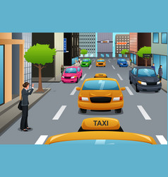 businesswoman waiting for taxi vector image