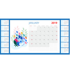 Calendar 2019 template with place vector