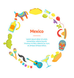 cartoon symbol of mexico banner card circle vector image