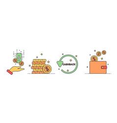 cashback icon set vector image