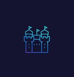 Castle fortress icon line vector