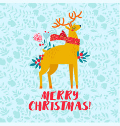 christmas golden deer christmas card template vector image