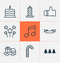 Christmas icons set with gauntlet cake truck vector