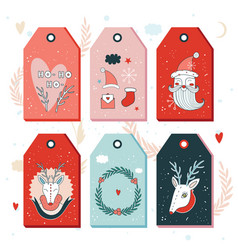 christmas new year gift tags collection vector image
