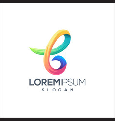 colorful letter b logo design vector image