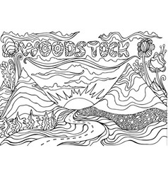 coloring page with inscription woodstock and vector image