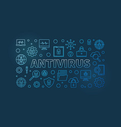computer antivirus outline blue horizontal vector image