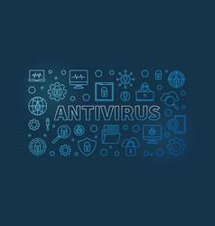 Computer antivirus outline blue horizontal vector