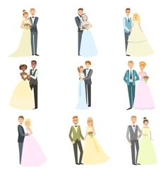 Couples Posing Together On Wedding Day vector