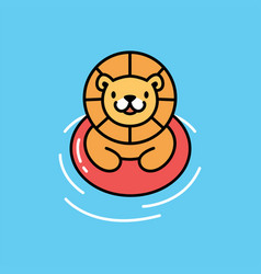 cute lion swimming cartoon playful logo icon vector image