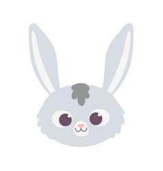 cute rabbit animal face cartoon isolated design vector image